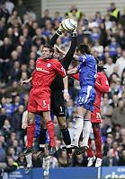 Matthew Upson, Maik Taylor and John Terry. <br /> Chelsea v Birmingham. 09/04/05.