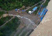 SANMING, CHINA - MAY 08: (CHINA OUT) <br /> <br /> Aerial view of the landslide site in Taining County on May 8, 2016 in Sanming, Fujian Province of China. 41 people are missing in the landslide which hit a construction site for a hydropower station at 4:46 a.m. on Sunday in Taining County, Sanming City, Fujian Province. Rescuers attributed the landslide to the continuous heavy rain in recent days, <br /> ©Exclusivepix Media