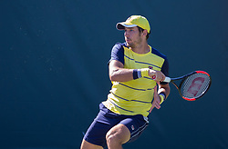 March 22, 2018 - Miami, Florida, United States - Dusan Lajovic, from Serbia, in action against argentinian Horacion Zeballos at Court 2 of the Miami Open  on March 23, 2018 in Key Biscayne, Florida. Lajovic took the match 3-6, 7-6(2), 6-4 (Credit Image: © Manuel Mazzanti/NurPhoto via ZUMA Press)