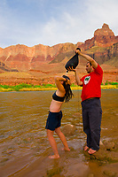 Camping at Comanche Creek, Whitewater rafting trip (oar trip) on the Colorado River in Grand Canyon, Grand Canyon National Park, Arizona USA