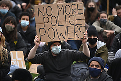 © Licensed to London News Pictures. 03/04/2021. London, UK. Protesters takes part in a demonstration in central London against the Government's proposed Police, Crime, Sentencing and Courts Bill. Photo credit: Ray Tang/LNP