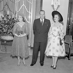 15 May 1958 - Kathleen, Duchess of Rutland, Charles Sweeny and the Duchess of Argyll at the wedding of Frances Sweeny to the Duke of Rutland in London.<br /> <br /> Photo by Desmond O'Neill Features Ltd.  +44(0)1306 731608  www.donfeatures.com
