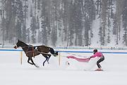 Skijoring at the White Turf 2011 horse  racing event in St Moritz, Switzerland.