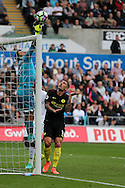 Aleksandar Kolarov of Manchester city watches as the ball is tipped over the crossbar by Swansea city goalkeeper Lukasz Fabianski.  Premier league match, Swansea city v Manchester city at the Liberty Stadium in Swansea, South Wales on Saturday 24th September 2016.<br /> pic by Andrew Orchard, Andrew Orchard sports photography.