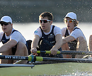 Putney LONDON. Oxford University Boat Club vs German U23 Crew, Pre Boat Race Fixture. Championship Course, River Thames;  Greater London, Saturday  - 08/03/2014  [Mandatory Credit Peter Spurrier/ Intersport Images],<br /> <br /> OUBC Crew, Bow: Right to Left. <br /> 4:Tom SWARTZ, 5: Malcolm HOWARD, 6:Mike DI SANTO,