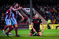 Charlie Wyke of Sunderland (9) after heading the ball over the bar during the EFL Sky Bet League 1 match between Scunthorpe United and Sunderland at Glanford Park, Scunthorpe, England on 19 January 2019.