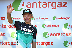 July 22, 2018 - Mende, FRANCE - Polish Rafal Majka of Bora-Hansgrohethe receives the combativity award for the most aggressive rider after the 15th stage in the 105th edition of the Tour de France cycling race, from Millau to Carcassone (181,5km), France, Sunday 22 July 2018. This year's Tour de France takes place from July 7th to July 29th. BELGA PHOTO DAVID STOCKMAN (Credit Image: © David Stockman/Belga via ZUMA Press)
