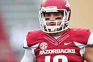 FAYETTEVILLE, AR - OCTOBER 24:  Brandon Allen #10 of the Arkansas Razorbacks warming up before a game against the Auburn Tigers at Razorback Stadium on October 24, 2015 in Fayetteville, Arkansas.  The Razorbacks defeated the Tigers in 4 OT's 54-46.  (Photo by Wesley Hitt/Getty Images) *** Local Caption *** Brandon Allen