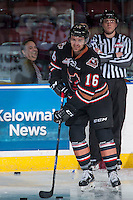 KELOWNA, CANADA - FEBRUARY 1: Jake Kryski #16 of the Calgary Hitmen warms up with the puck against the Kelowna Rockets during his first appearance in Kelowna after being traded from the Rockets to the Hitmen on February 1, 2017 at Prospera Place in Kelowna, British Columbia, Canada.  (Photo by Marissa Baecker/Shoot the Breeze)  *** Local Caption ***