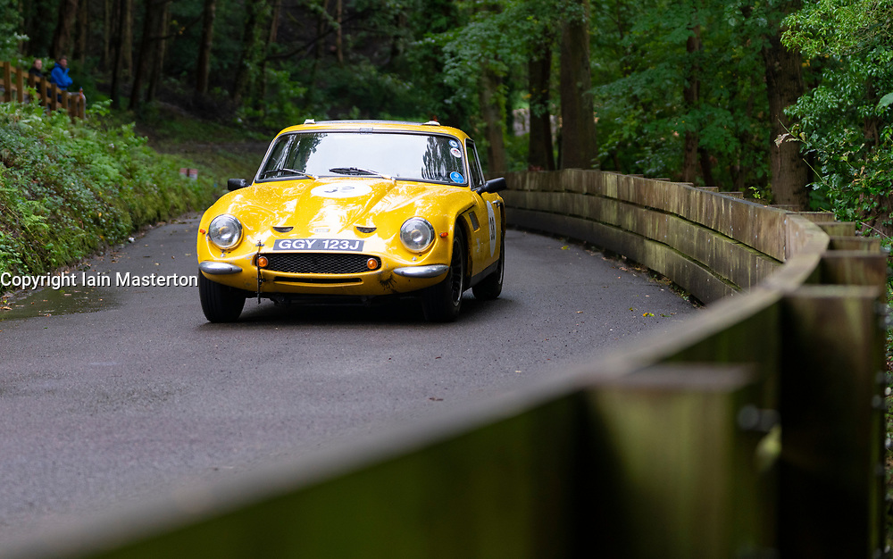 Boness Revival hillclimb motorsport event in Boness, Scotland, UK. The 2019 Bo'ness Revival Classic and Hillclimb, Scotland's first purpose-built motorsport venue, it marked 60 years since double Formula 1 World Champion Jim Clark competed here.  It took place Saturday 31 August and Sunday 1 September 2019. 38 Richard Morris TVR 2500