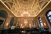 Ornate ceiling of the bookstore cafe, Budapest, Hungary
