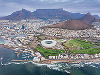 Aerial panoramic view of Mouille Point and Green Point stadium, Cape Town, South Africa.