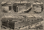 Factories of the Singer Sewing Machine Company. Top left: Cabinet works at Govan, Glasgow, Scotland. Centre top: Factory at Glasgow, Scotland. Top right: Factory at South Bend, Indiana, USA. Bottom: Factory at Elizabethport, New Jersey, USA. From 'Great Industries of Great Britain (London, c1880).