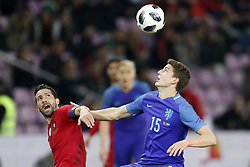 (L-R) Joao Moutinho of Portugal, Guus Til of Holland during the International friendly match match between Portugal and The Netherlands at Stade de Genève on March 26, 2018 in Geneva, Switzerland