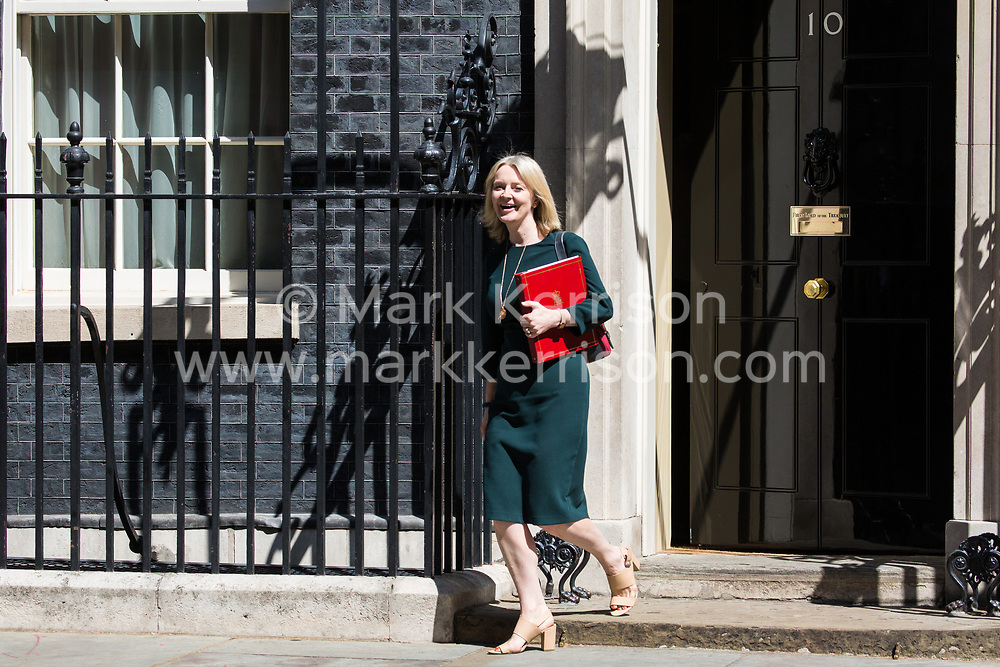 London, UK. 16 July, 2019. Liz Truss MP, Chief Secretary to the Treasury, leaves 10 Downing Street following a Cabinet meeting.