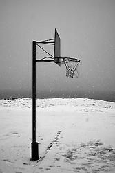Basketball field at the island Grimsey, north Iceland - Körfuboltavöllur á skólalóð í Grímsey
