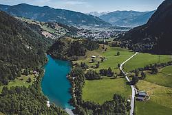 THEMENBILD - Uebersicht. Der Klammsee ist ein Tagesspeicher und Teil des Kraftwerks Kaprun, aufgenommen am 20. Juli 2019 in Kaprun, Oesterreich // general view of the Lake. The Klammsee is a daily storage facility with a volume of 200,000 m³ and part of the Kaprun power plant in Kaprun, Austria on 2019/07/20. EXPA Pictures © 2019, PhotoCredit: EXPA/ JFK