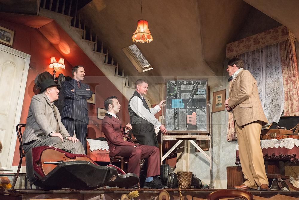 © Licensed to London News Pictures. 08/07/2013. The Ladykillers by Graham Linehan at The Vaudeville Theatre, London. Based on the Ealing Comedy screenplay, this stage production has been adapted by Graham Linehan. Picture shows: Chris McCalphy (One Round), Con O'Neill (Louis), Ralf Little (Harry), John Gordon Sinclair (Prof Marcus) & Simon Day (Major Courtney. Photo credit: Tony Nandi/LNP