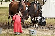 USA, Oregon, Brooks, Willamette Mission State Park, little girl reenactor feeding cavalry horses.