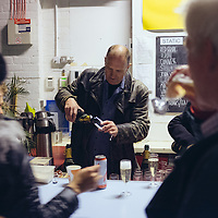 Bill Drummond turns 60 and celebrates with champagne in Static Gallery, Liverpool, UK. 28th April, 2013.