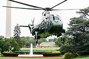 The return of President Donald Trump in the evening via the Marine One helicopter to the White House in Washington, DC on July 24, 2018