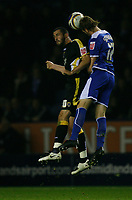 Photo: Steve Bond.<br />Leicester City v Cardiff City. Coca Cola Championship. 26/11/2007. Richard Stearman (R) beats Steve Thompson (R) to the ball