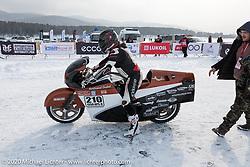 French custom bike builder Bertrand Dubet ready to do a qualifying run on his partially streamlined Aprilia RSV4 racer at the Baikal Mile Ice Speed Festival. Maksimiha, Siberia, Russia. Thursday, February 27, 2020. Photography ©2020 Michael Lichter.