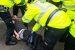 © Licensed to London News Pictures. 08/11/2020. Manchester , UK. Police move to break up an anti lockdown protest in Piccadilly Gardens in Manchester City Centre , after issuing a dispersal order to those at the demo . Photo credit: Joel Goodman/LNP