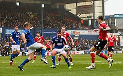 Oldham Athletic's Adam Lockwood clears the ball - Photo mandatory by-line: Matt McNulty/JMP - Mobile: 07966 386802 - 03/04/2015 - SPORT - Football - Oldham - Boundary Park - Oldham Athletic v Bristol City - Sky Bet League One