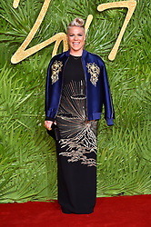 Pink attending the Fashion Awards 2017, in partnership with Swarovski, held at the Royal Albert Hall, London. Picture Date: Monday 4th December, 2017. Photo credit should read: Matt Crossick/PA Wire