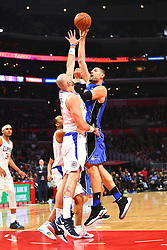 January 6, 2019 - Los Angeles, CA, U.S. - LOS ANGELES, CA - JANUARY 06: Orlando Magic Center Nikola Vucevic (9) shoots over Los Angeles Clippers Center Marcin Gortat (13) during a NBA game between the Orlando Magic and the Los Angeles Clippers on January 6, 2019 at STAPLES Center in Los Angeles, CA. (Photo by Brian Rothmuller/Icon Sportswire) (Credit Image: © Brian Rothmuller/Icon SMI via ZUMA Press)