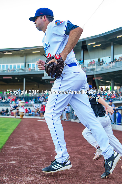 Amarillo Sod Poodles pitcher Jesse Scholtens (38) takes the fied against the Northwest Arkansas Travelers on Saturday, July 20, 2019, at HODGETOWN in Amarillo, Texas. [Photo by John Moore/Amarillo Sod Poodles]