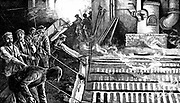 Tapping blast furnace and casting iron into 'pigs.  Engraving, c1895