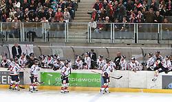 27.04.2011, TWK Arena, Innsbruck, AUT, IIHF WM 2011, Testspiel, Österreich vs USA, im Bild Jubel der Österreicher nach dem 2:0 during friendly ice hockey match between Austria and USA, in preparation of IIHF world Championship 2011 at TWK Arena in Innsbruck Austria on 27/4/2011. EXPA Pictures © 2011, PhotoCredit: EXPA/ J. Groder