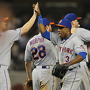 Curtis Granderson, New York Mets, celebrate the win with his team mates during the New York Yankees V New York Mets, Subway Series game at Yankee Stadium, The Bronx, New York. 12th May 2014. Photo Tim Clayton