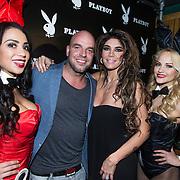 NLD/Amsterdam/20140410 - Presentatie Playboy met Melisa Schaufeli, partner Andy van der Meyde en bunnies