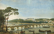 Visit of Francis I of the Two Sicilies and his Queen to Charles X, May 1830, to Chateau of Saint-Cloud by the Seine 10 kilometres from Paris. Royal procession crossing bridge, barges and paddle steamer on river. Watercolour and gouache on paper.