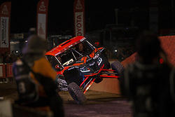 LIMA, Jan. 7, 2019  American driver Robby Gordon and co-driver Kellon Walch drive pass the podium during the departure ceremony at the 2019 Dakar Rally Race, Lima, Peru, on Jan. 6, 2019. The 41st edition of Dakar Rally Race kicked off in Lima, Peru. (Credit Image: © Xinhua via ZUMA Wire)