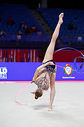 Julia Wierzba from Poland is competing for the Rhythmic Gymnastics Individual World Cup qualification at Vitrifrigo Arena on May 28/29, 2021, in Pesaro, Italy. She was born in Warsaw in 2005.
