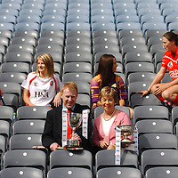 4 September 2007; Camogie captains, from left, Deirdre Murphy, from Clooney, Clare, with Claire Doherty, from Slaughtneil, Derry, who will meet in the Junior Final,  Mary Leacy, from Oulart, Wexford, and Gemma O'Connor, from Cork City, Cork, who will meet in the Senior Final, with President of the Camogie Association Liz Howard and CEO of Gala Retail Services Gary Desmond, at a photocall ahead of the Gala All-Ireland Senior and Junior Camogie Championship Finals, which will be taking place on Sunday the 9th September 2007. Croke Park, Dublin. Picture credit;  Brian Lawless / SPORTSFILE *** NO REPRODUCTION FEE ***