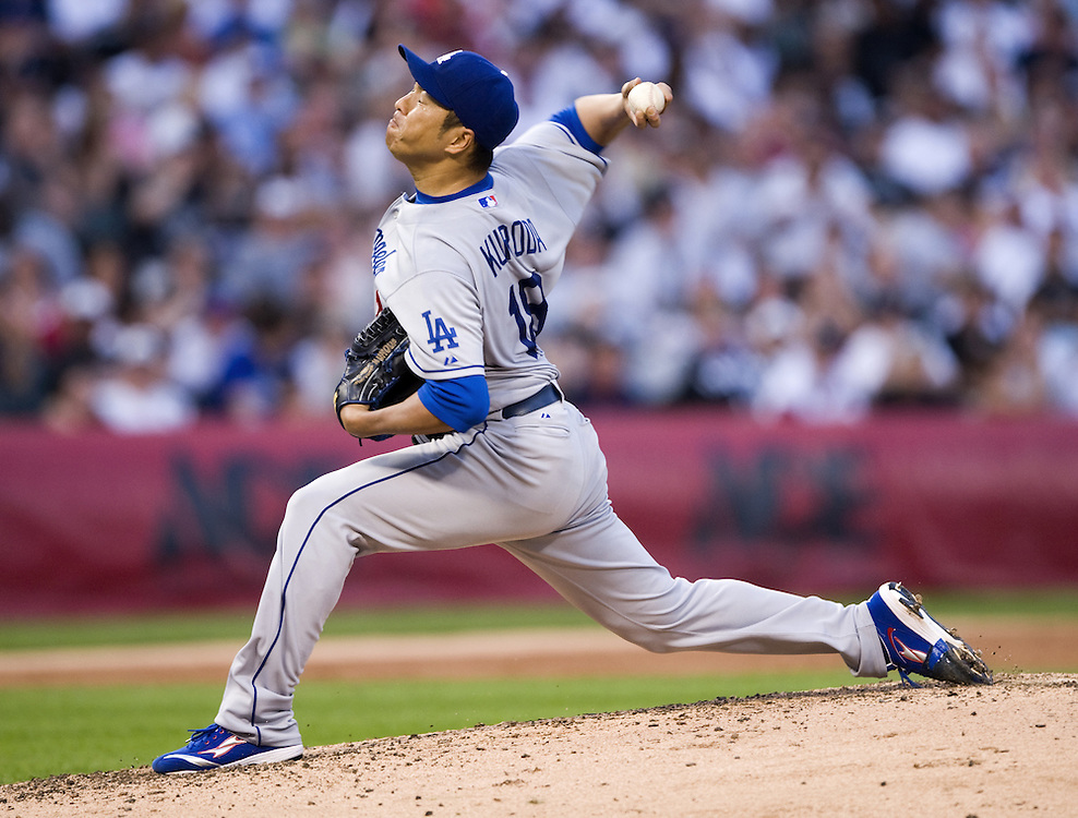 CHICAGO - JUNE 23:  Hiroki Kuroda #18 of the Los Angeles Dodgers pitches against the Chicago White Sox on June 23, 2009 at U.S. Cellular Field in Chicago, Illinois.  The Dodgers defeated the White Sox 5-2.  (Photo by Ron Vesely)