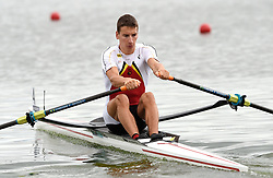 Belgium's Ruben Somers in the Lightweight Men's Single Sculls heat one during day one of the 2018 European Championships at the Strathclyde Country Park, North Lanarkshire