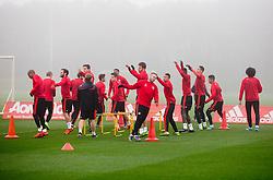 Manchester United players warm up - Mandatory byline: Matt McNulty/JMP - 07966386802 - 02/11/2015 - FOOTBALL - Aon Training Complex -Manchester,England - UEFA Champions League