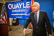 15 AUGUST 2012 - PHOENIX, AZ:   Senator JOHN MCCAIN (R-AZ) at a press conference Wednesday. Arizona's Republican US Senators, John McCain and Jon Kyl, announced their endorsement of Congressman Ben Quayle (R-AZ) during a press conference in Phoenix Wednesday. They decried the campaign being run by Quayle's opponent, Congressman David Schweikert (R-AZ). Both Quayle and Schweikert are freshman Congressmen from neighboring districts. They were thrown into the same district during the redistricting process and are now waging a bitter primary fight against each other.  PHOTO BY JACK KURTZ