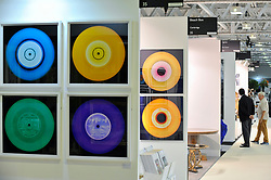 "© Licensed to London News Pictures. 27/06/2017. London, UK.  ""Vinyl Collection"" by Heidler & Heeps at The Arts & Antiques Fair taking place at Olympia in Kensington.  The event is the UK's largest and most established art and antiques fair and runs until 2 July.  Photo credit : Stephen Chung/LNP"