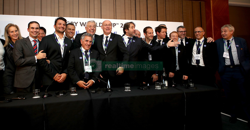 France 2023 bid team members during the 2023 Rugby World Cup host union announcement at The Royal Garden Hotel, Kensington.