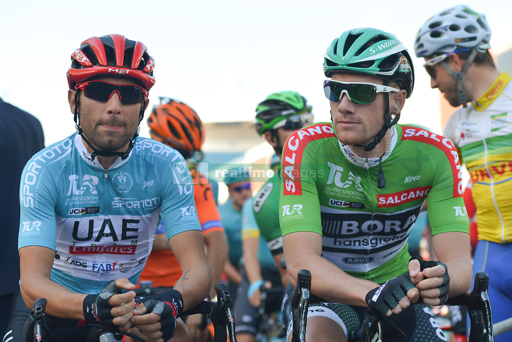 October 15, 2017 - Istanbul, Turkey - Diego Ulissi from UAE Team Emirates and Sam Bennett from Bora–Hansgrohe at the start to the the final sixth stage - the 143.7km Salcano Istanbul to Istanbul stage of the 53rd Presidential Cycling Tour of Turkey 2017..On Sunday, 15 October 2017, in Istanbul, Turkey. (Credit Image: © Artur Widak/NurPhoto via ZUMA Press)