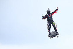 September 1, 2019, Spa Francorchamps, Belgium: Franky Zapata in demonstration with his Flyboard on the circuit of Spa Francorchamps as part of the Belgian Grand Prix of Formula one..Charles Leclerc wins his first Formula One Grand Prix. (Credit Image: © Pierre Stevenin/ZUMA Wire)