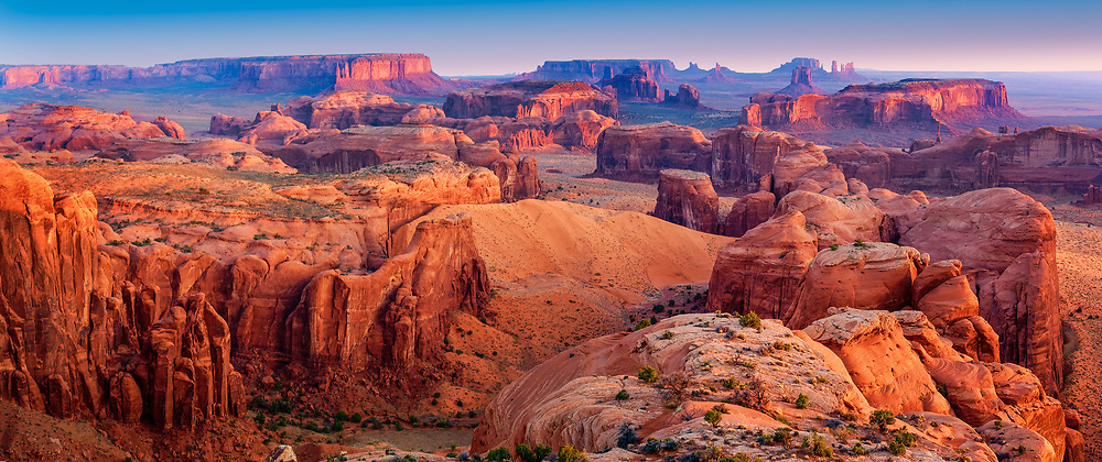 First light over Monument Valley from atop Hunts Mesa