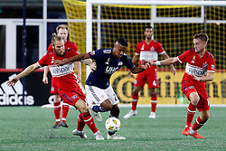 September 22, 2018 - Foxborough, MA, U.S. - FOXBOROUGH, MA - SEPTEMBER 22: New England Revolution midfielder Luis Caicedo (27) breaks away from Chicago Fire midfielder Aleksandar Katai (10) during a match between the New England Revolution and the Chicago Fire on September 22, 2018, at Gillette Stadium in Foxborough, Massachusetts. The teams played to a 2-2 draw. (Photo by Fred Kfoury III/Icon Sportswire) (Credit Image: © Fred Kfoury Iii/Icon SMI via ZUMA Press)